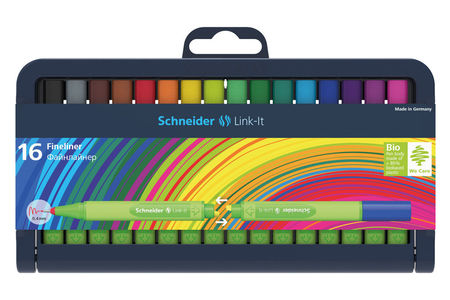 Adjustable pencil case with16 different colours as fineliner or fibrepens.