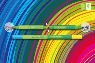 "Place the two arrows facing towards each other and ""click"" you can create your own individual favorite pen with your favorite colors!"