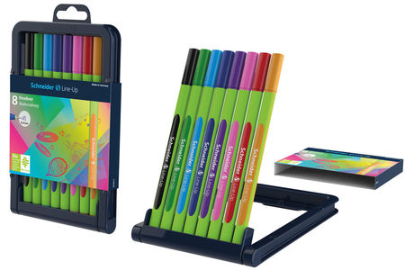 The colourful fineliners are packed in a convenient adjustable pencil case stand.