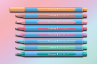 The popular cyan-coloured ballpoint pen Slider Edge Pastel with Viscoglide® technology.