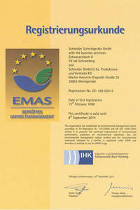 The registration certificate in the EMAS register.